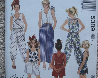 UNCUT Girls Tops and Pants or Shorts - Size 7 - McCalls Pattern 5389 - Vintage 1991