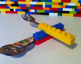 Stack & Stack Brick Block Spoon Fork Knife Coloured 3Pcs Cutlery Set