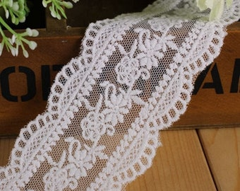 14yards Vintage Scollop embroidery mesh lace ribbon trim Ruffle decoden  -Col#White  Width#4.5cm