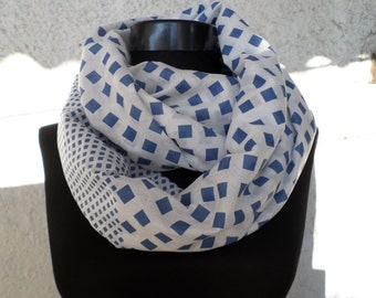 Infinity Scarf, Geometric pattern scarf, Blue and white scarf, cotton scarf, Loop scarf,  Valentine's, Gift Ideas