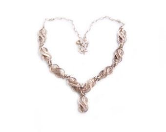 Vintage sterling silver Ottoman harem style necklace - bridal wedding jewelry necklace filigree vintage jewelry