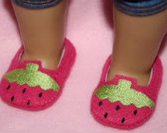 24 Hour Sale Price!!!   18inch Doll Strawberry Loafers Embroidery Machine Design for the 5x7 hoop