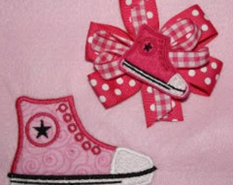 Super Sale Price!!!    High Top Sneaker Feltie and Applique Embroidery Machine Design for the 4x4 hoop