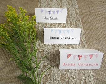 10 x Bunting Wedding Place Name Cards / rustic /vintage /table place cards /guest seating/ shabby chic / village fete wedding