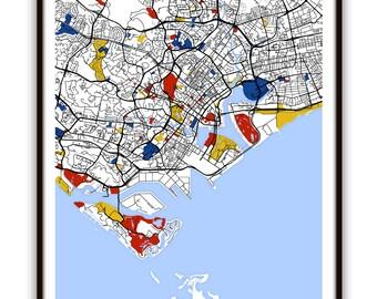 Singapore Map Art / Singapore Wall Art / Print / Poster / Modern Home Decor