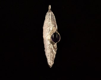 Silver olive leaf and amethyst pendant