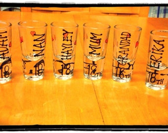 16x personalised shot glasses- great for hen parties and birthdays