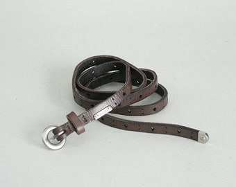 Womens Skinny Brown Leather Belt