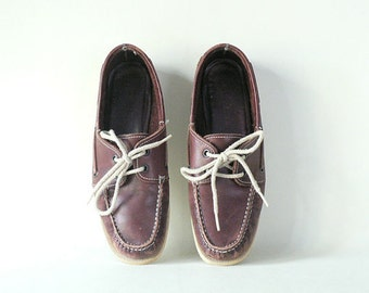 Women's Brown Leather Boat Shoes Size 7.5 Narrow