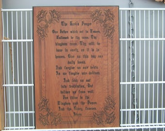 The Lord's Prayer wall hanging.