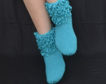 Turquoise Crochet Socks with Thrums, Aqua Crochet Socks, Home Boots, Home Shoes, House Shoes, House Boots, Winter Fashion, Women Accessories