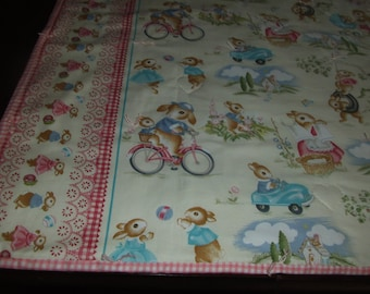 "Small Childs Quilt  ""PETER RABBIT FAMILY""   Hand Stitched Tied Quilt"