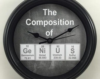 Composition of GeNiUS Periodic Table CHEMISTRY Teacher's Wall CLOCK