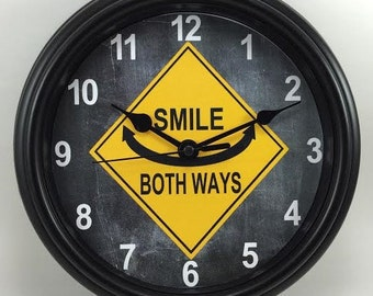 SMILE Both Ways ROADSIGN Unique Wall Clock