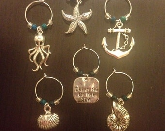 Beach Babe Wine Glass Charms, set of 6 ~ Nautical Wine Charms ~ Beach Themed Wine Charms ~ Ocean Themed Wine Charms