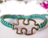 Puzzle green bracelet, antique brass jigsaw puzzle charm bracelet, pistachio green handmade adjustable bracelet, bohemian jewelry