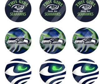 Seattle Seahawks digital collage sheet 4x6 1 inch round for bottle cap   INSTANT DOWNLOAD