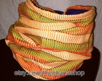 Unisex, Fleece Lined, Kente (Woven) Cloth Snood
