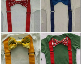 Custom bowtie onesie. Choose your color and pattern