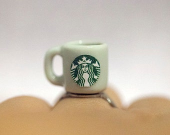 Miniature Starbucks Coffee ring with adjustable ring band