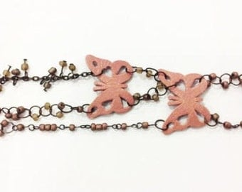 Woman -Girls Cloudy pink Charming  Butter bracelet with Brown Bead.