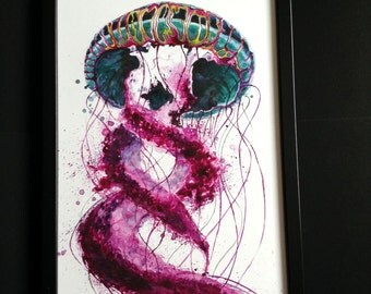 Two Piece Jellyfish Print from Original Watercolor Painting