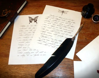 Spanish or English personalised handwritten love letters, wax sealed, optional illustration. customised