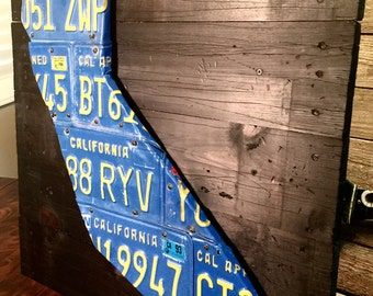 Distressed Wood Planked California License Plate Art