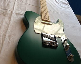 Satin forest green Telecaster style guitar, Luthier made