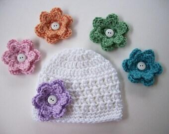 Crochet Baby Hat, Choose 5 Flowers, Newborn Hat, Baby Girl Hat, Baby Shower Gift, Newborn Photo Prop, Newborn Beanie, Toddler Hat, Baby Girl