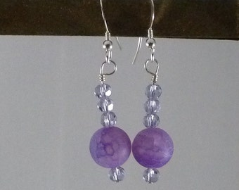 Purple Frosted Agate Earrings - Beadwork - Handmade