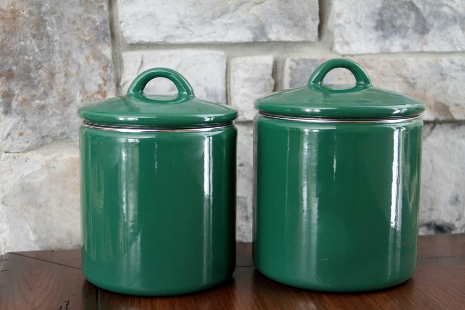 enamel kitchen canisters enamel canisters green canister kitchen storage by mochagallery 3624