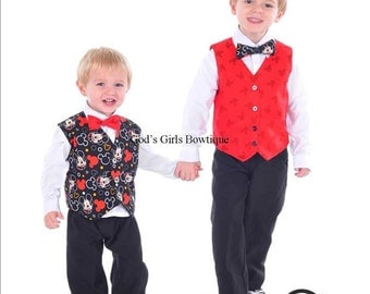 Christmas Mickey Mouse Vest Bow Tie Outfit Smash Cake Ring Bearer Wedding Birthday Disney Cruise Boys Toddler  baby Tuxedo Vest