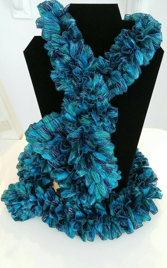 Knitting Patterns Ribbon Scarves : Items similar to Ladies Scarves, Handmade Scarves ~Knitted Scarves ~Ruffled S...