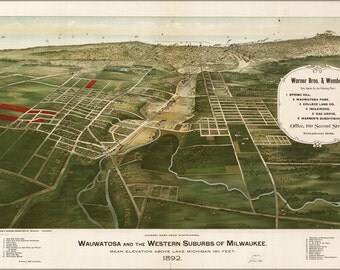 24x36 Poster; Wauwatosa And The Western Suburbs Of Milwaukee 1892