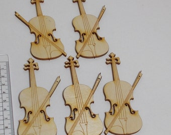 Wooden violin 5 pieces 100 mm high for musicians, as table decoration for weddings, birthdays, music lovers