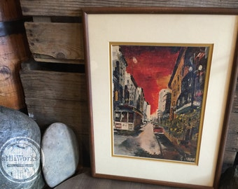 "Vintage 1960's San Francisco Framed Art Print ""Cable Car"" Artist G. Soubeyran"