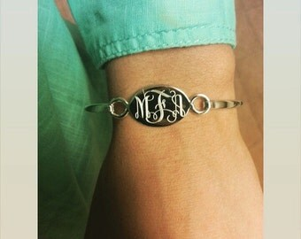 Stylish Silver Monogrammed Bracelet