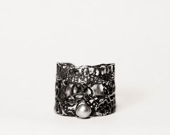 Oxidized Silver Lace ring with freshwater pearl