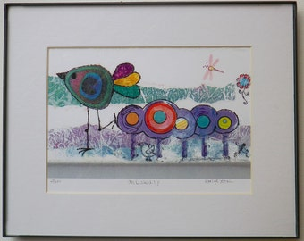 """Limited Edition Print (4/200) from original art:  """"All Dressed Up""""  Colorful and happy bird and flowers."""