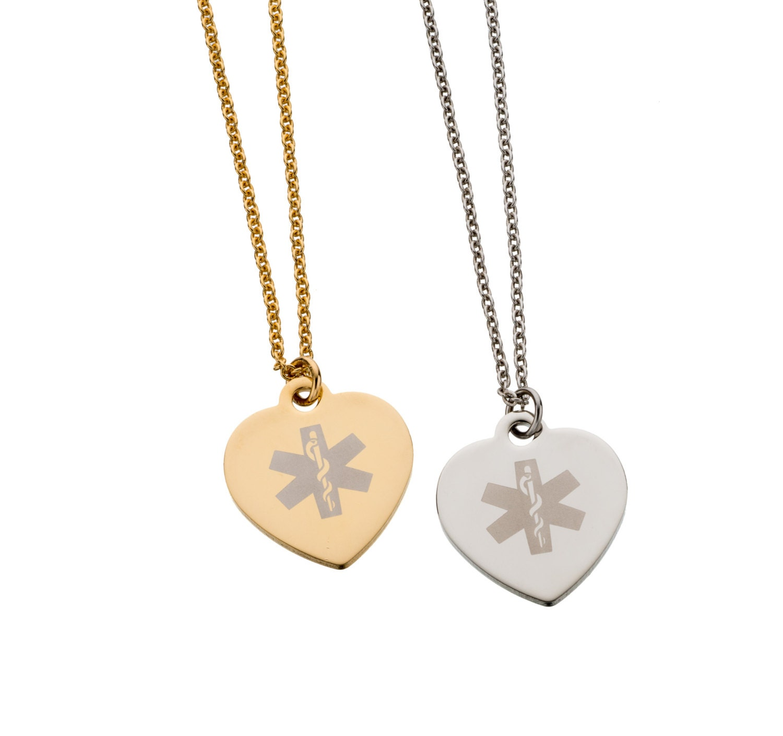 Medic Alert Necklace: Heart-Shaped Custom Engraved Medical Alert Necklace By