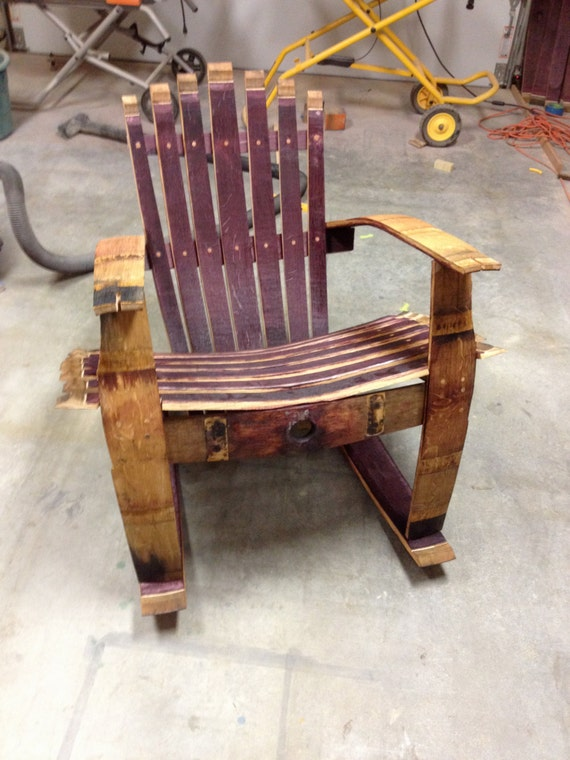 Items similar to repurposed wine barrel rocking chair on etsy