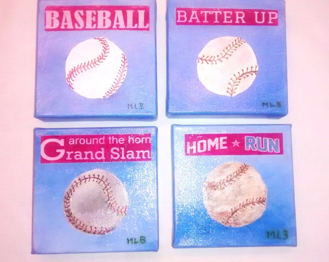 Series of 4 Original Baseball Paintings on Canvas - Free Shipping