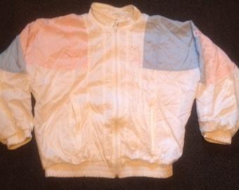 Vintage Light Pink/ Blue Boast Windbreaker Running Zip Up Jacket Sz: L