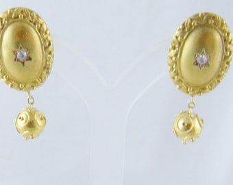 Antique 18 Kt Gold Diamond in Star and Ball Drop Earrings