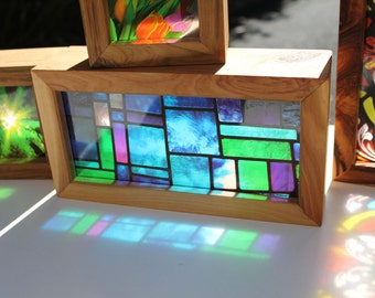 Modern Stained Glass Handmade Timber Light Box. Translucent prints that glow in natural light!