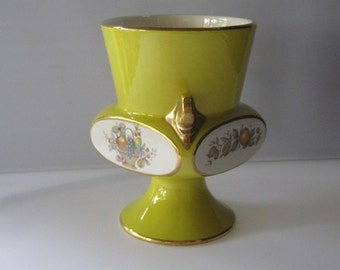 Carltonware Four Sided Yellow Vase From England, Unusual Shape And Design, Floral Decorations, Two Handles, Fine Porcelain Ceramics