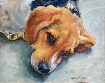 Pet Portrait, Oil Painting, Beagle Dog Portrait, Fine Art