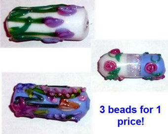 Super Sale - Three Floral Large Lampwork Beads