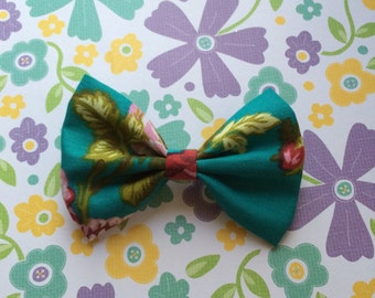 Teal Rose Bow